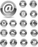 сеть черной иконы установленная Стоковые Фотографии RF