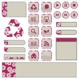 сеть элементов цветения розовая Стоковая Фотография RF