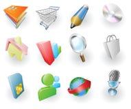 сеть динамически иконы цвета применения установленная Стоковая Фотография