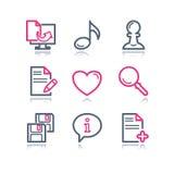 сеть 10 икон контура цвета Стоковое Изображение