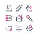 сеть 11 иконы контура цвета Стоковые Изображения