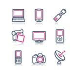 сеть 16 икон контура цвета Стоковая Фотография