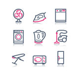 сеть 18 икон контура цвета Стоковые Фотографии RF