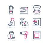 сеть 19 икон контура цвета Стоковое Изображение
