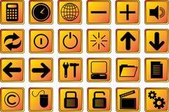 сеть 2 икон золота кнопок Стоковые Изображения