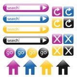 сеть 2 кнопок цветастая лоснистая Стоковая Фотография