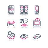 сеть 21 иконы контура цвета Стоковое Фото