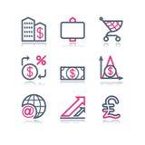 сеть 23 икон контура цвета Стоковое Изображение