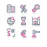 сеть 25 икон контура цвета Стоковые Изображения RF