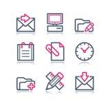 сеть 27 икон контура цвета Стоковое Изображение