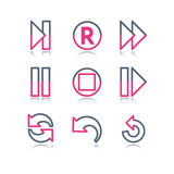 сеть 29 икон контура цвета Стоковое Изображение