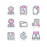 сеть 3 икон контура цвета Стоковые Изображения