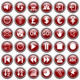 сеть 3 кнопок красная круглая Стоковые Фотографии RF