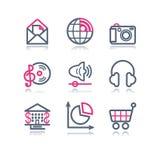 сеть 5 икон контура цвета Стоковые Фото