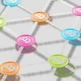 Сеть Bitcoin одноранговая Стоковая Фотография