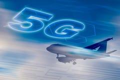 сеть 5G схематическая - подключенный везде для каждого стоковые изображения