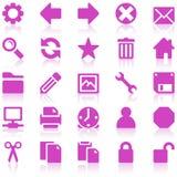 сеть purplee иконы установленная просто Стоковые Изображения