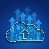 Сеть social облака Вычислять-загрузки облака Стоковые Изображения
