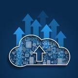 Сеть social облака Вычислять-загрузки облака Стоковое фото RF