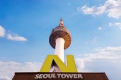 СЕУЛ - 18-ОЕ ДЕКАБРЯ: Башня n Сеула Стоковое Изображение RF