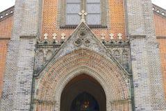 СЕУЛ, ЮЖНАЯ КОРЕЯ, 24-ое сентября 2017: Myeongdong catedral в Южной Корее Сеула улицы myeongdong стоковое фото