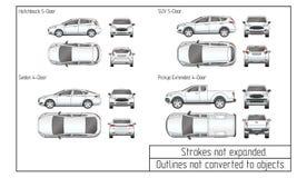 Седан автомобиля и чертеж suv конспектируют не преобразованный к объектам Стоковые Изображения