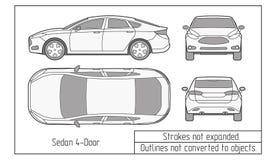 Седан автомобиля и чертеж suv конспектируют не преобразованный к объектам Стоковое Изображение