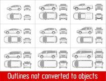 Седан автомобиля и suv и фургон весь чертеж взгляда конспектирует не преобразованный к объектам бесплатная иллюстрация