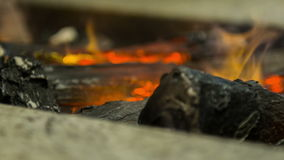 Селективный фокус на теплом огне горя в камине сток-видео
