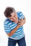 Селективный фокус под рукой сердечной болезни ушиблен Стоковые Фотографии RF