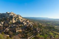 Село вершины холма в Провансали стоковые изображения rf