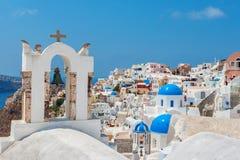 село взгляда oia santorini Греции Стоковые Фото