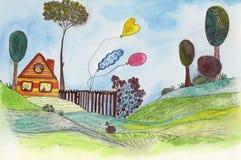 Село лета иллюстрация вектора
