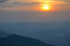 село захода солнца горы alps Стоковые Фото