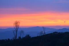 село захода солнца горы alps Стоковое Изображение RF