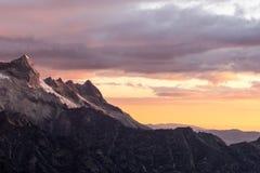 село захода солнца горы alps Стоковые Изображения