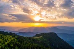 село захода солнца горы alps Стоковое Фото