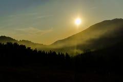 село захода солнца горы alps Стоковая Фотография RF