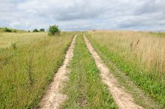 Сельская грязная улица через поле Стоковые Фото