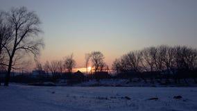 Сельская местность захода солнца зимы сток-видео