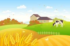 Сельская местность осени иллюстрация вектора
