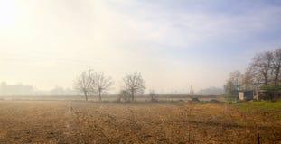 Сельская местность Lomellina, wintertime мать 2 изображения дочей цвета стоковые изображения