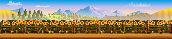 Сельская панорама горы ландшафта иллюстрация вектора