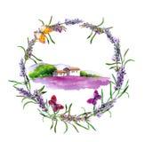Сельская ферма - провансальский дом, поле цветков лаванды в Провансали акварель иллюстрация вектора