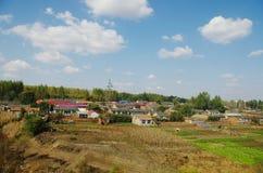 Сельские дома вокруг кукурузным полем стоковые изображения rf