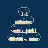 Сельский ландшафт на рождественской елке бесплатная иллюстрация