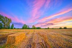 Сельский ландшафт осени на заходе солнца Стоковая Фотография