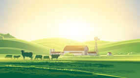 Сельский ландшафт рассвета Стоковое Изображение
