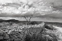 Сельский ландшафт с горным видом около городка Ares в Испании. Стоковая Фотография RF