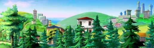 Сельский ландшафт с елевыми деревьями и зданиями на предпосылке бесплатная иллюстрация